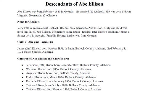Descendants of Abe Ellison